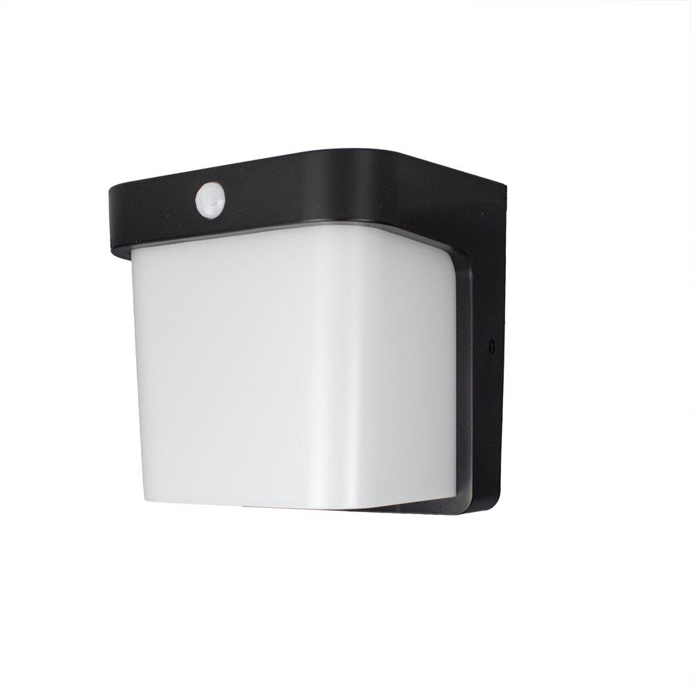 Buiten wandlamp met sensor IP54 zwart wit - zijaanzicht