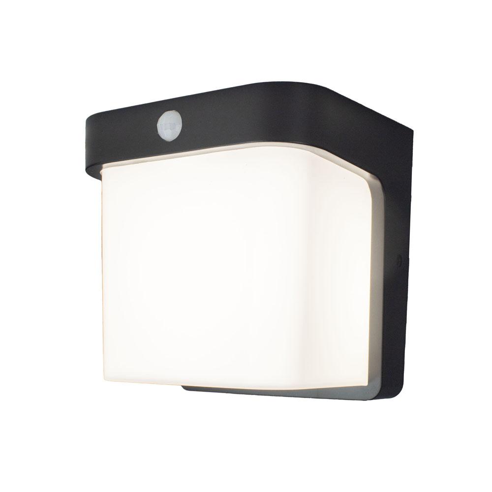 Buiten wandlamp met sensor IP54 zwart wit - zijaanzicht lamp aan