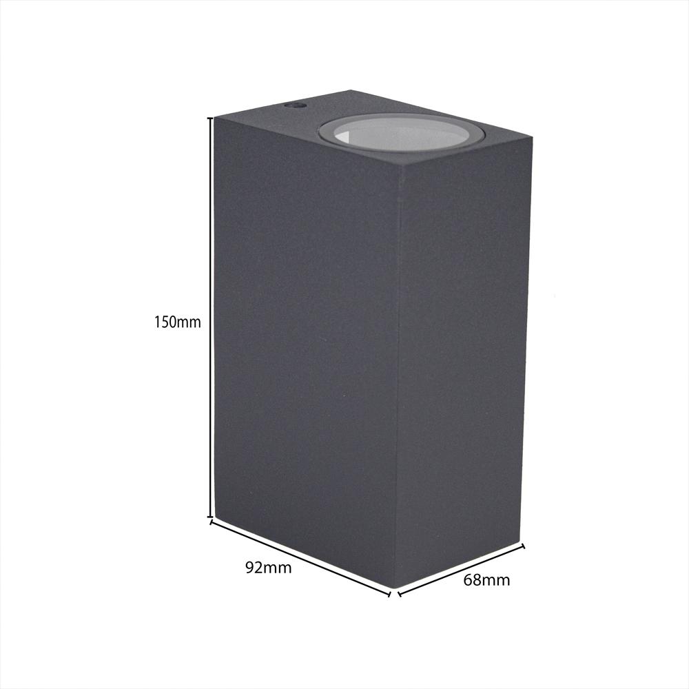 LED buitenspot Antraciet - 2 keer GU10 fitting - IP44 - afmetingen