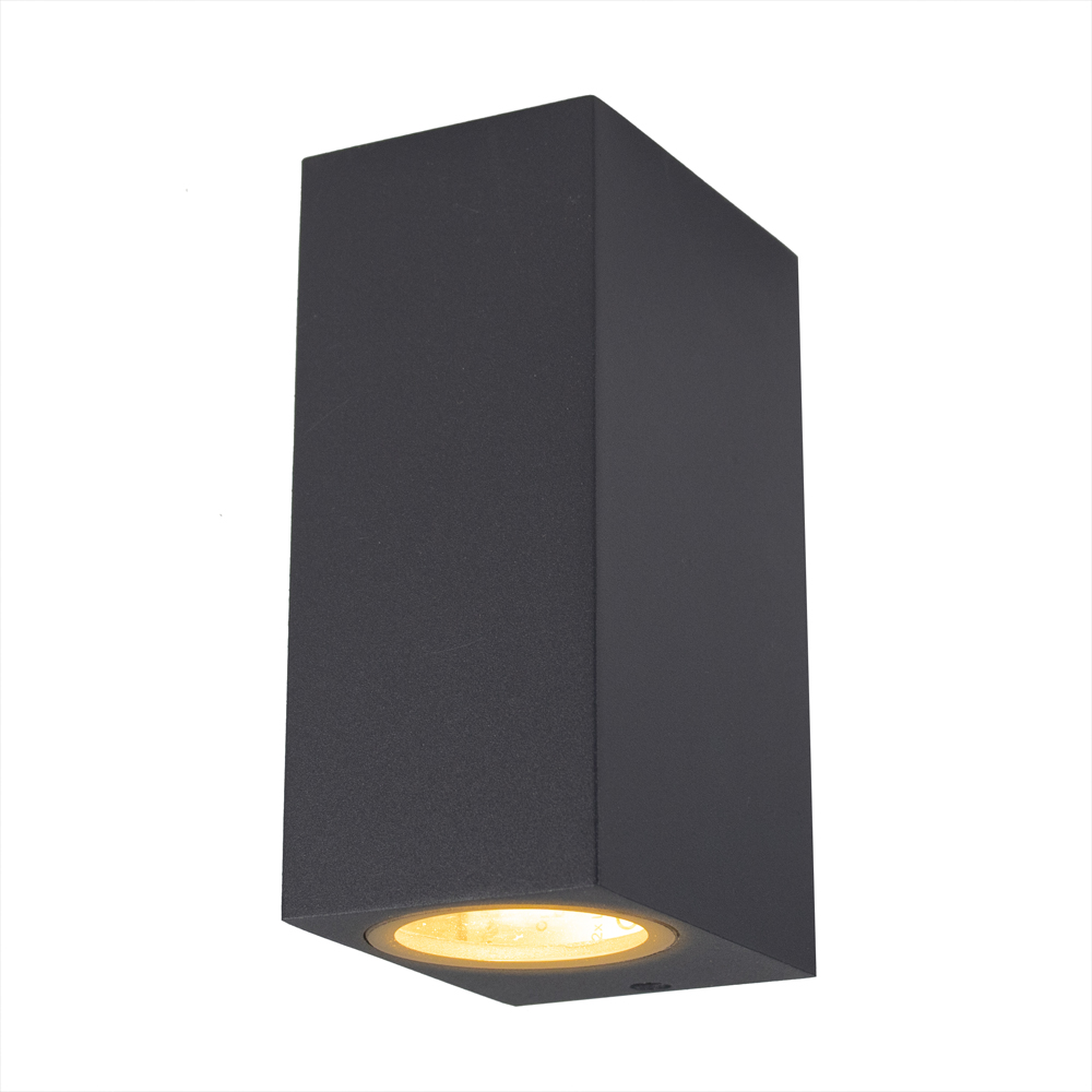 LED buitenspot Antraciet - 2 keer GU10 fitting - IP44 - vooraanzicht lamp