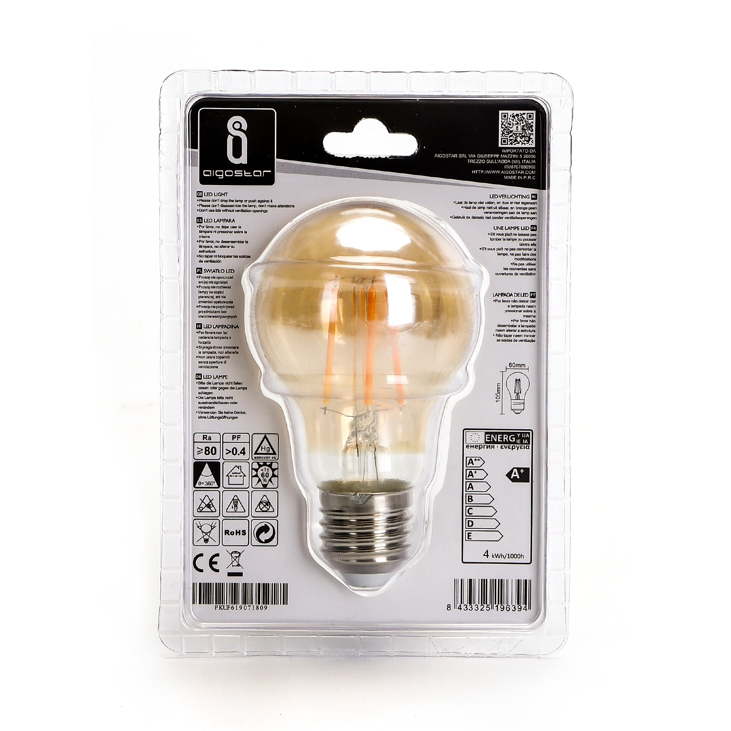 LED amber lamp filament 4 Watt grote fitting E27 2200K warm wit - achterkant verpakking