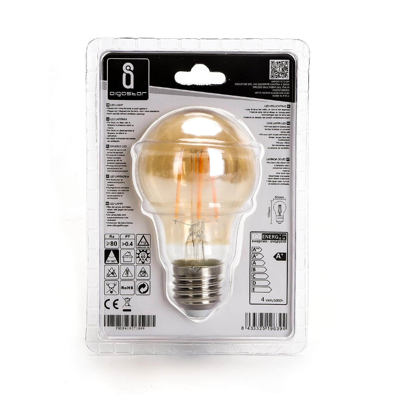 LED amber lamp filament 4 Watt grote fitting E27 2200K warm wit - achterkant verpakking