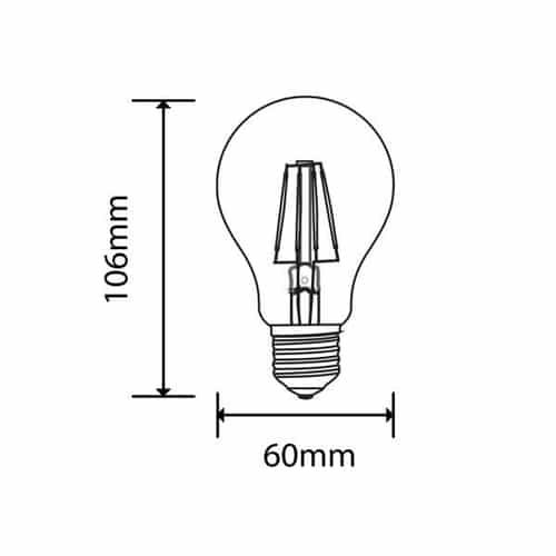 LED amber lamp filament 4 Watt grote fitting E27 2200K warm wit - afmetingen