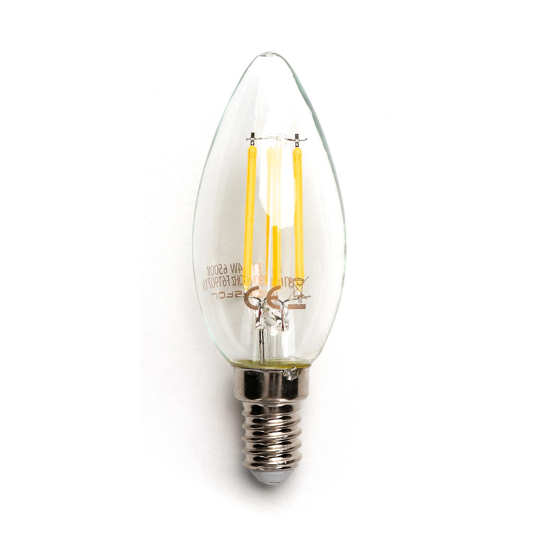 Filament kaarslamp 4 Watt C34 kleine fitting E14 2800K warm wit - lamp
