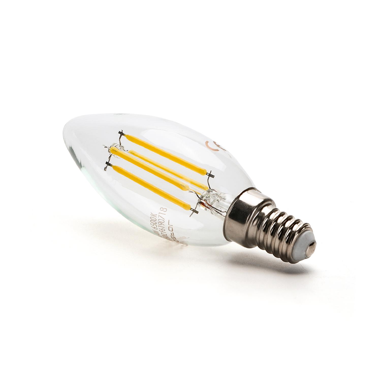 Filament kaarslamp 4 Watt C34 kleine fitting E14 2800K warm wit - zijaanzicht