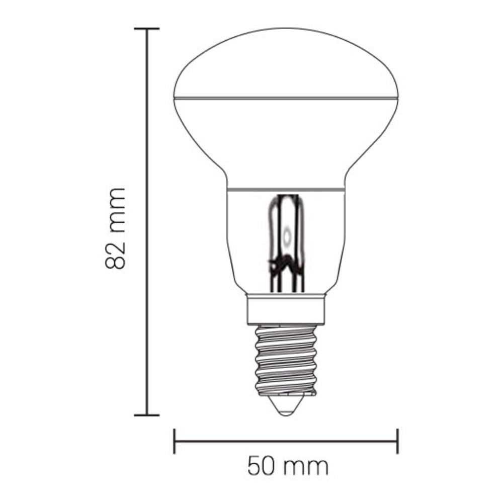 LED filament lamp R50 - E14 fitting - 2700K warm wit - afmetingen