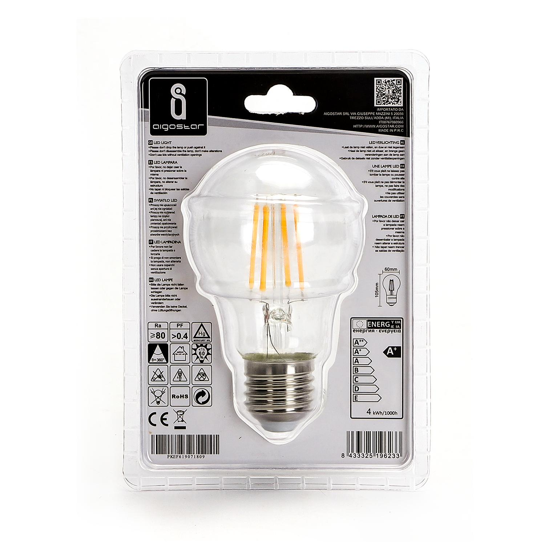 LED Filament peer lamp 4 Watt grote fitting E27 A60 2700K Warm wit - achterkant verpakking