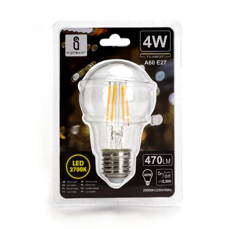 LED Filament peer lamp 4 Watt grote fitting E27 A60 2700K Warm wit - voorkant verpakking