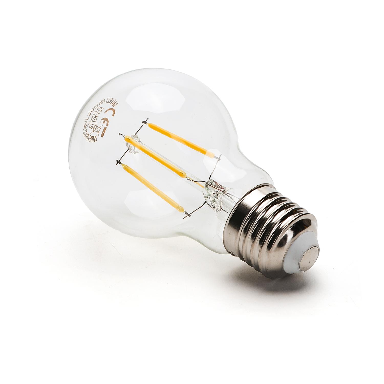 LED Filament peer lamp 4 Watt grote fitting E27 A60 2700K Warm wit - zijkant lamp