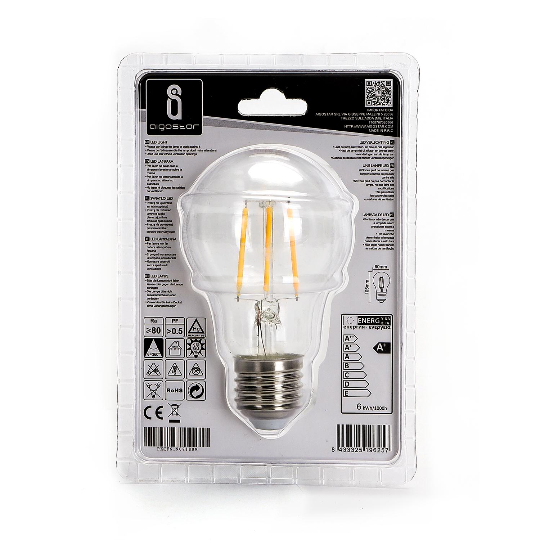 LED Filament Peer lamp 6 Watt grote fitting E27 A60 2700K Warm wit - achterkant verpakking