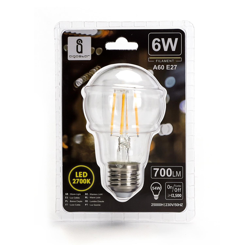LED Filament Peer lamp 6 Watt grote fitting E27 A60 2700K Warm wit - voorkant verpakking
