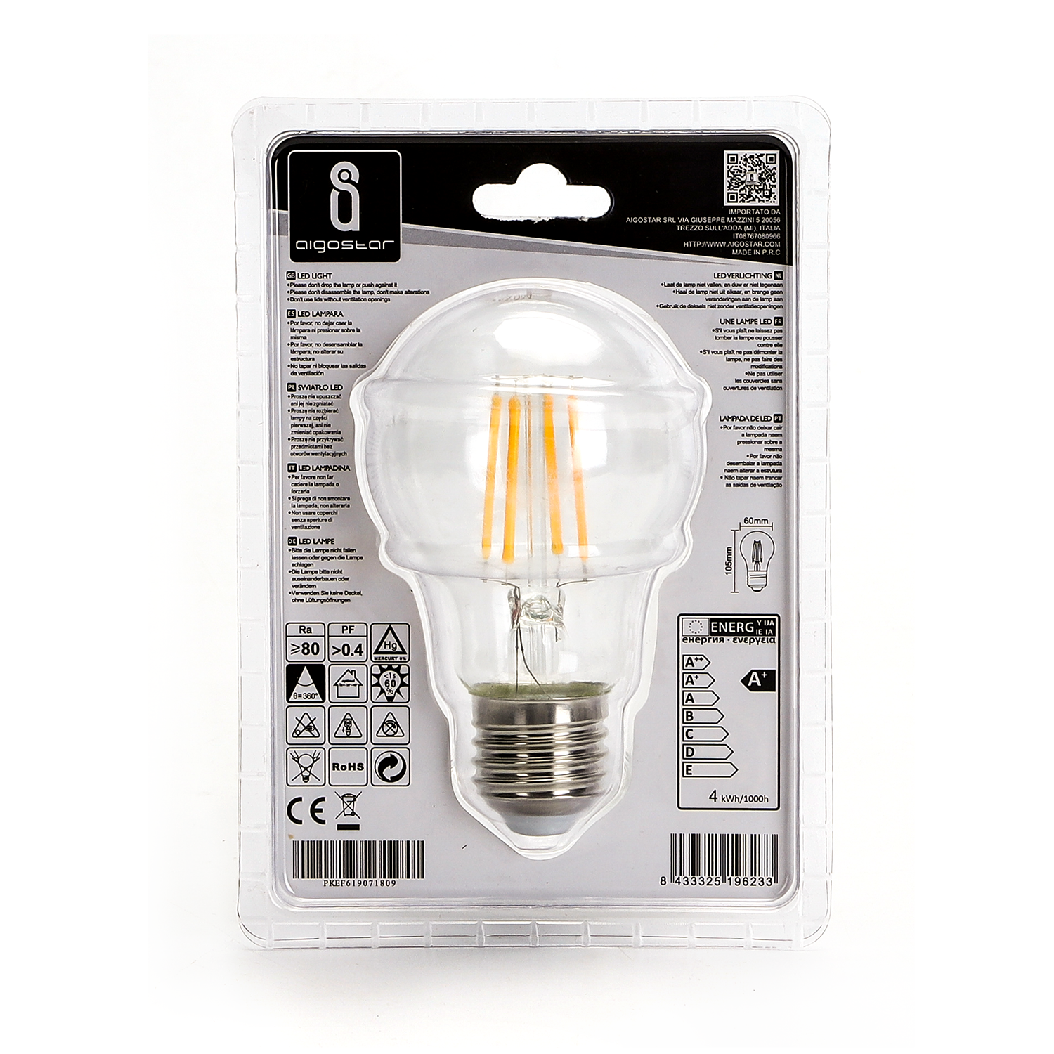 LED Filament Peer lamp 8 Watt grote fitting E27 A60 2700K Warm wit - achterkant verpakking