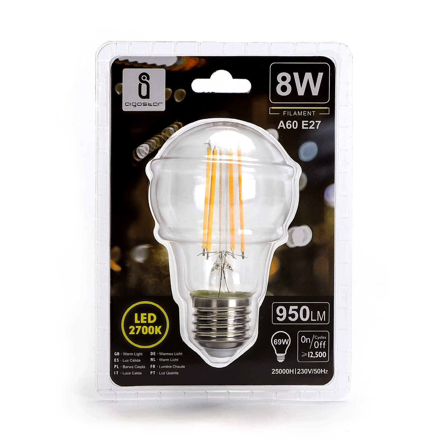 LED Filament Peer lamp 8 Watt grote fitting E27 A60 2700K Warm wit - voorkant verpakking