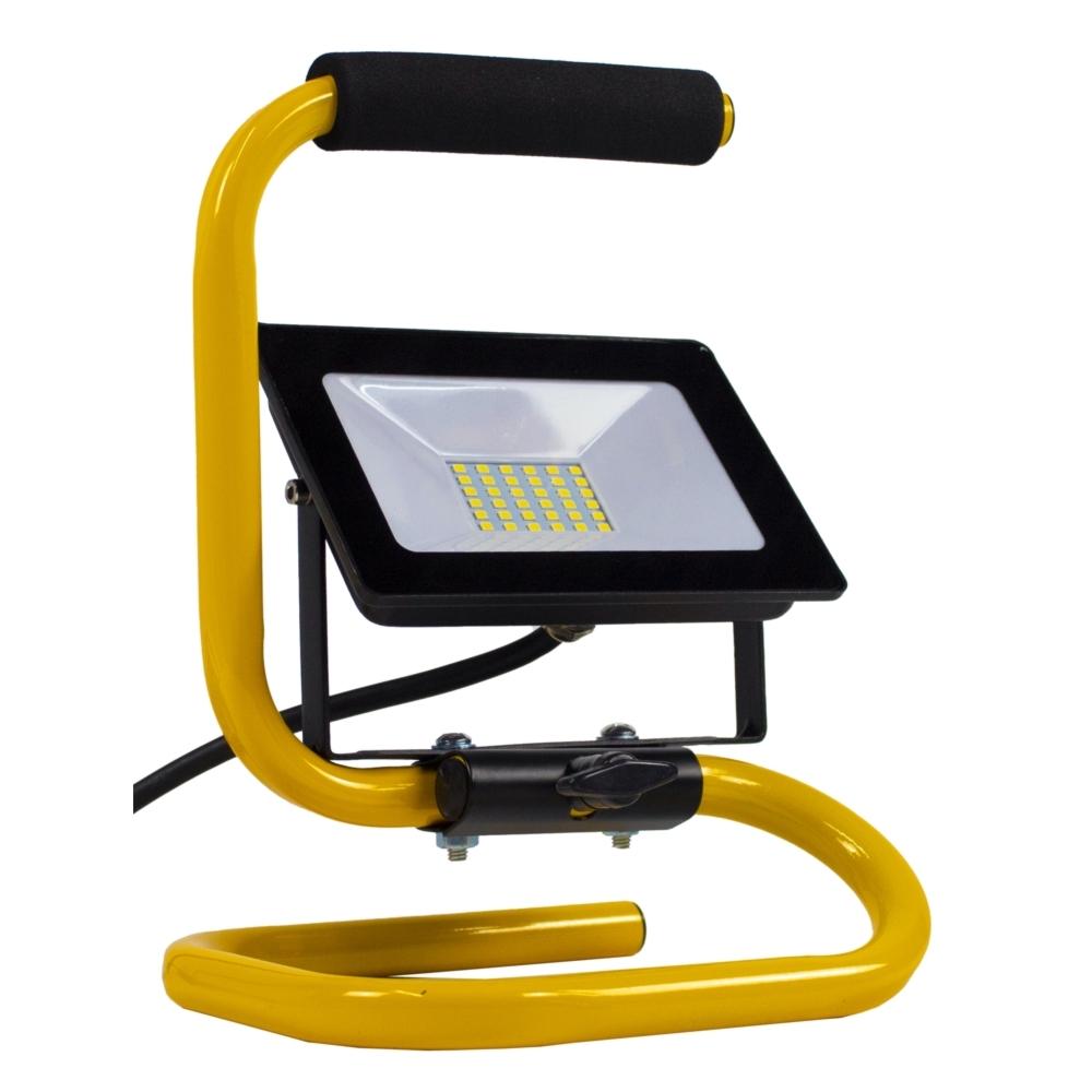 LED floodlight - bouwlamp - verstraler op statief - 2 meter kabel - 30 watt - daglicht wit - kantelbaar