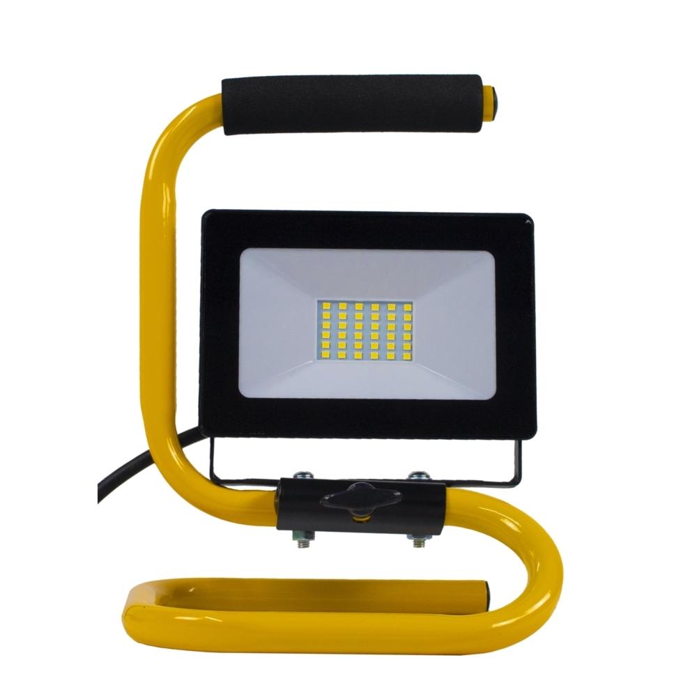 LED floodlight - bouwlamp - verstraler op statief - 2 meter kabel - 30 watt - daglicht wit - voorkant