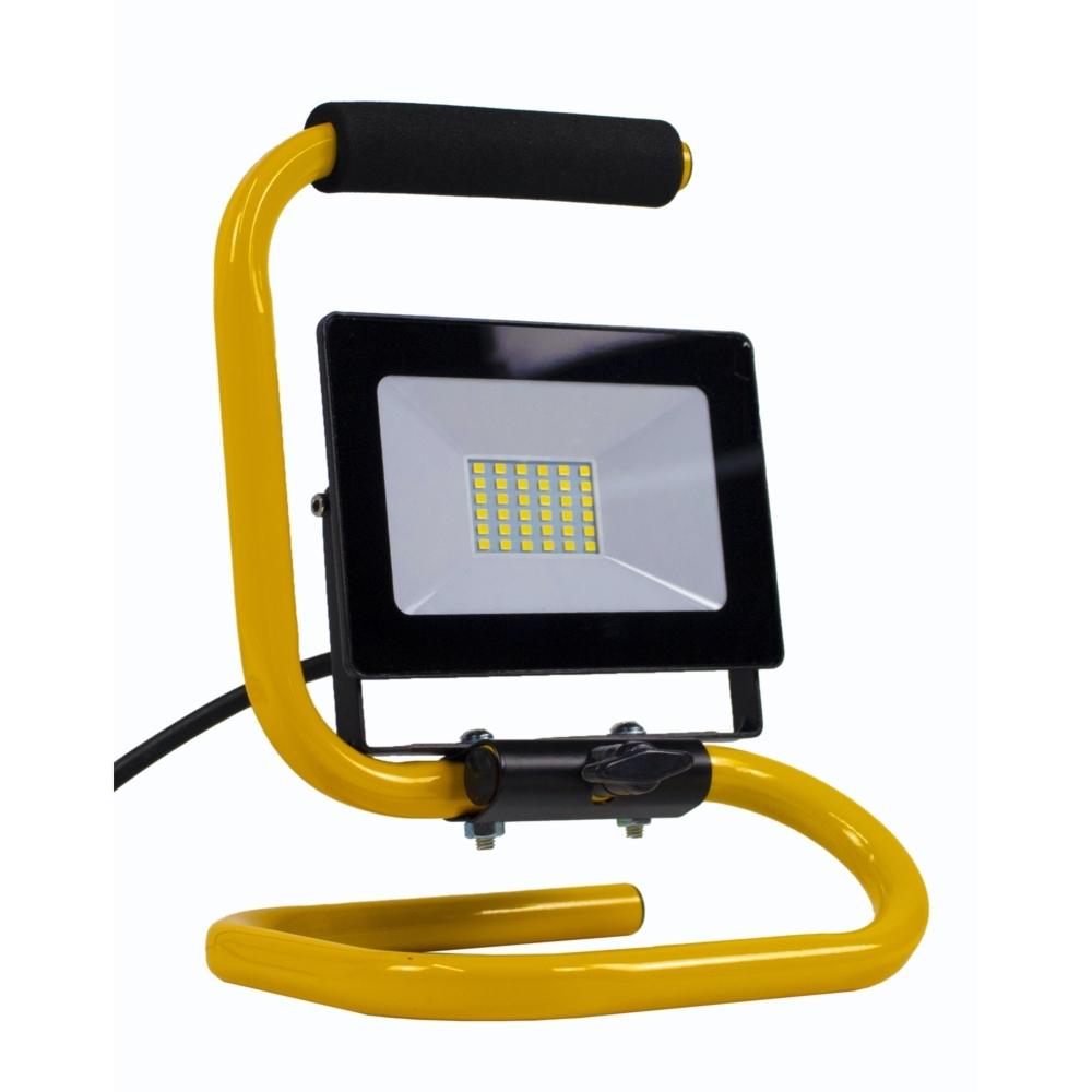 LED floodlight - bouwlamp - verstraler op statief - 2 meter kabel - 30 watt - daglicht wit - zijaanzicht