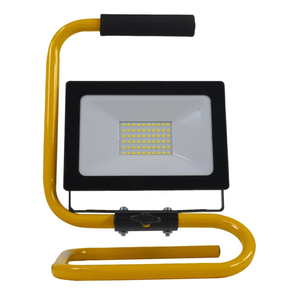 LED floodlight - bouwlamp - verstraler op statief - 2 meter kabel - 50 watt - daglicht wit - vooraanzicht
