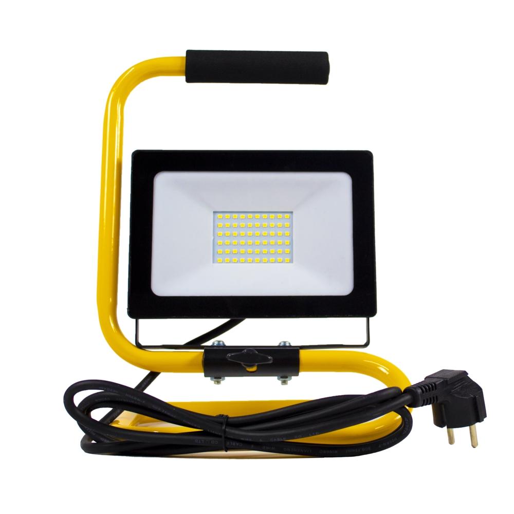 LED floodlight - bouwlamp - verstraler op statief - 2 meter kabel - 50 watt - daglicht wit - voorkant