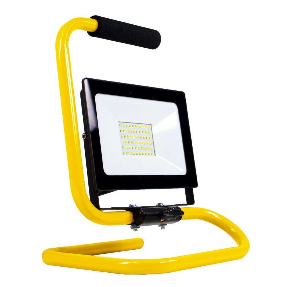 LED floodlight - bouwlamp - verstraler op statief - 2 meter kabel - 50 watt - daglicht wit - zijaanzicht