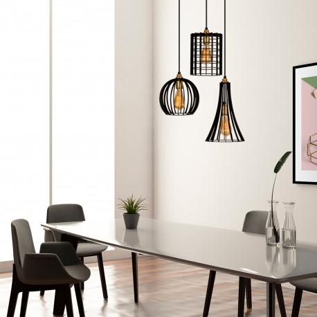hanglamp zwart met verschillende lampenkappen van gaas - sfeerfoto