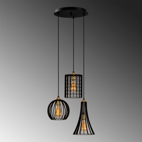 hanglamp zwart met verschillende lampenkappen van gaas