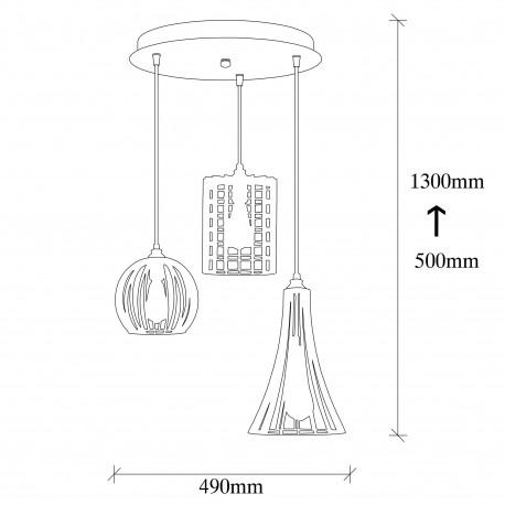 hanglamp zwart met verschillende lampenkappen van gaas - afmetingen