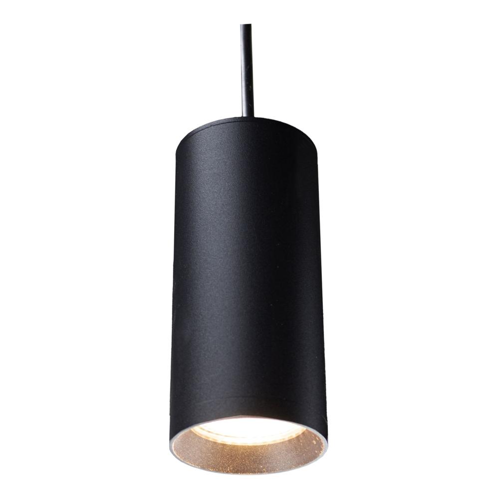 Hanglamp zwart met GU10 fitting - lampenkap lamp aan