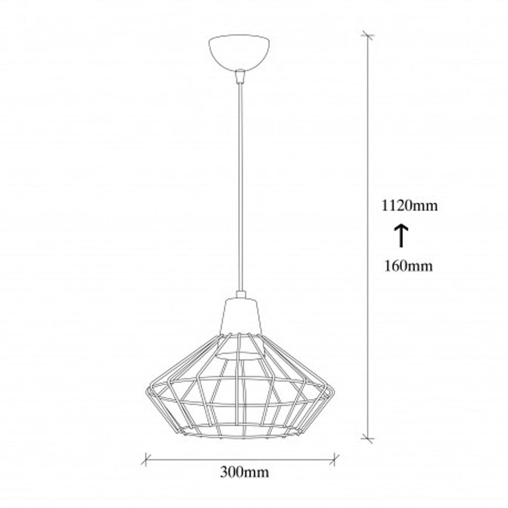 Hanglamp zwart metaal met E27 fitting - afmetingen