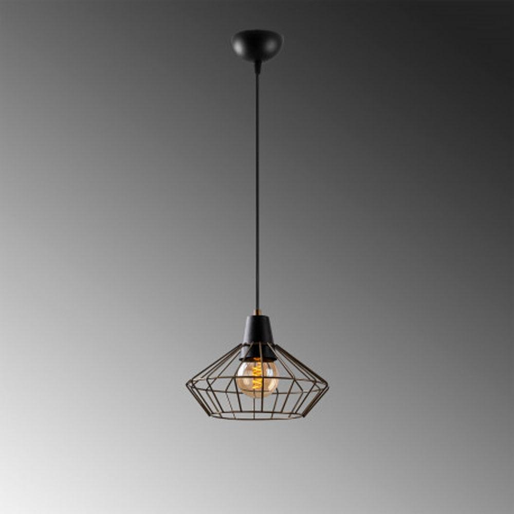Hanglamp zwart metaal met E27 fitting - grijze achtergrond