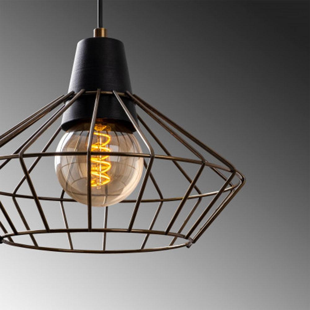 Hanglamp zwart metaal met E27 fitting - lampenkap