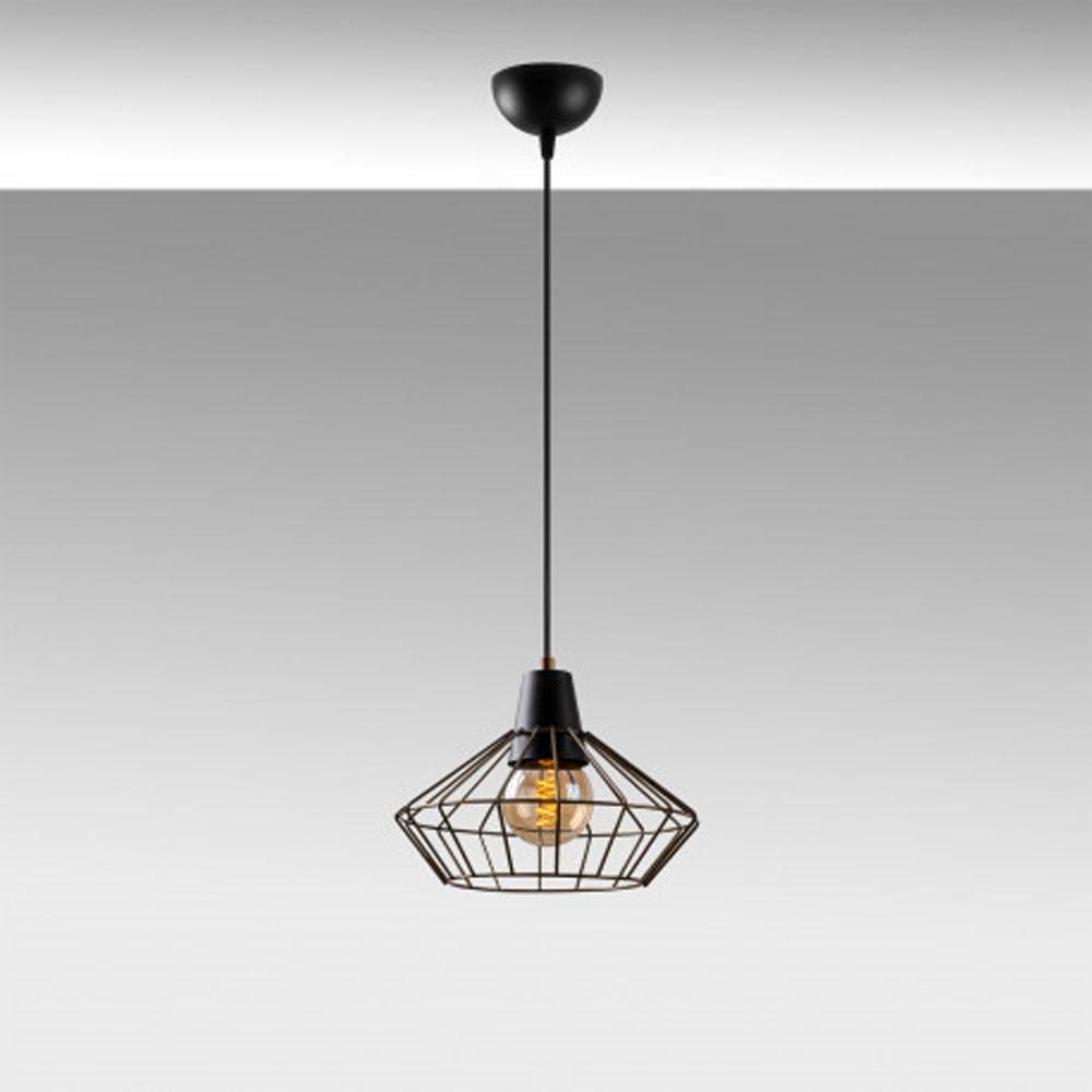 Hanglamp zwart metaal met E27 fitting - sfeerfoto