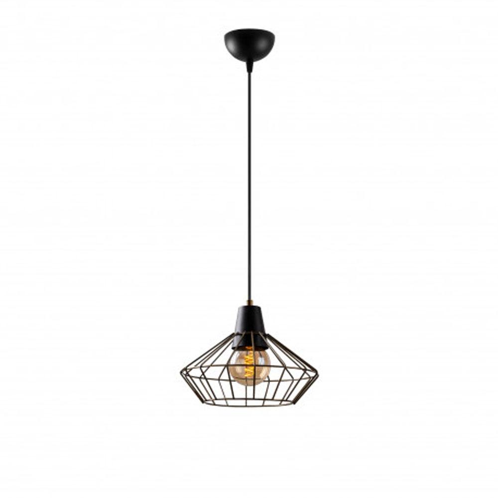 Hanglamp zwart metaal met E27 fitting - vooraanzicht lamp aan