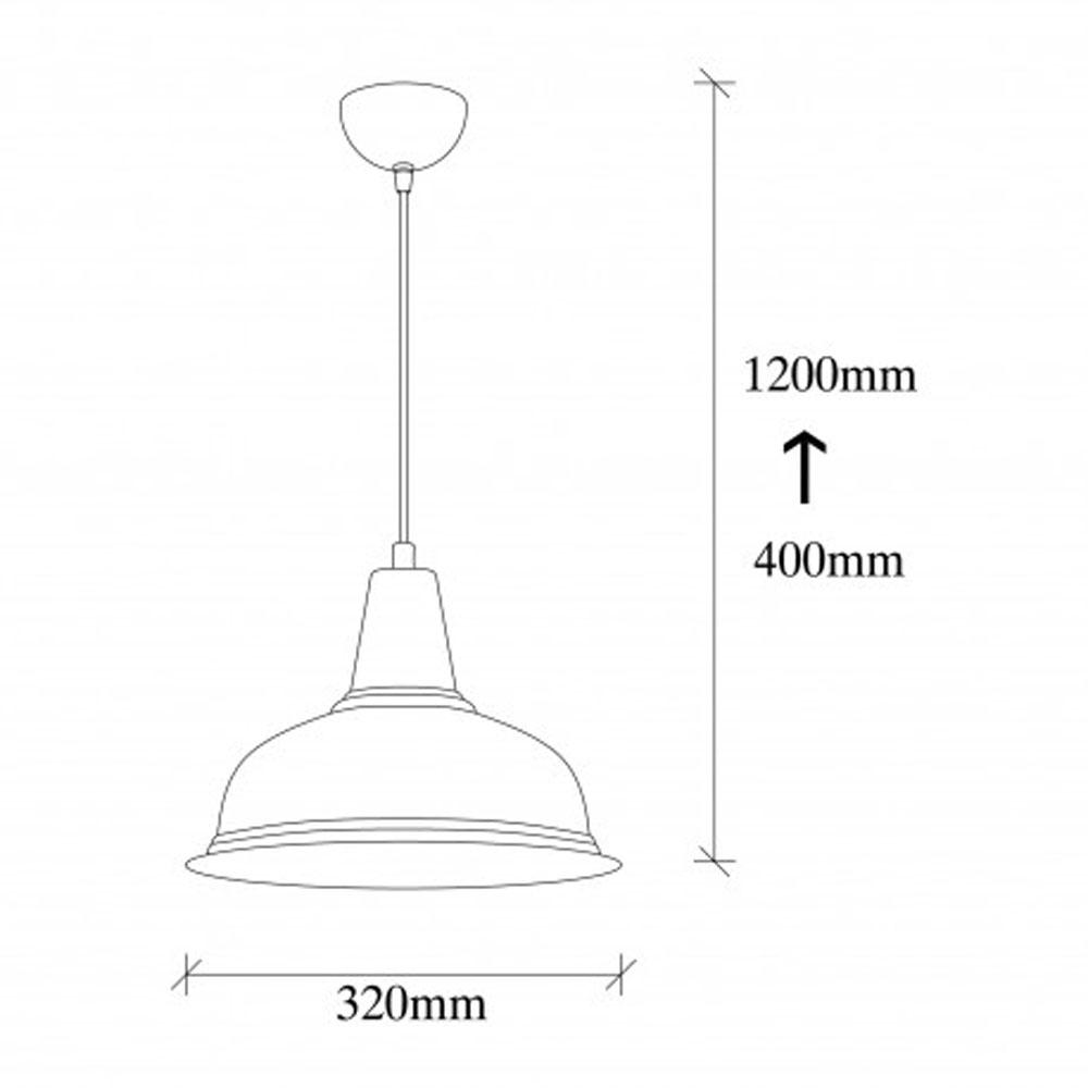Hanglamp zwart goud modern met E27 fitting - afmetingen