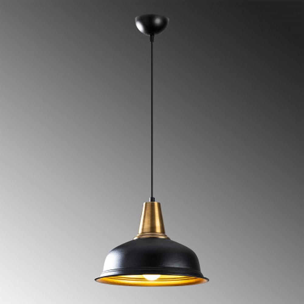 Hanglamp zwart goud modern met E27 fitting - grijze achtergrond