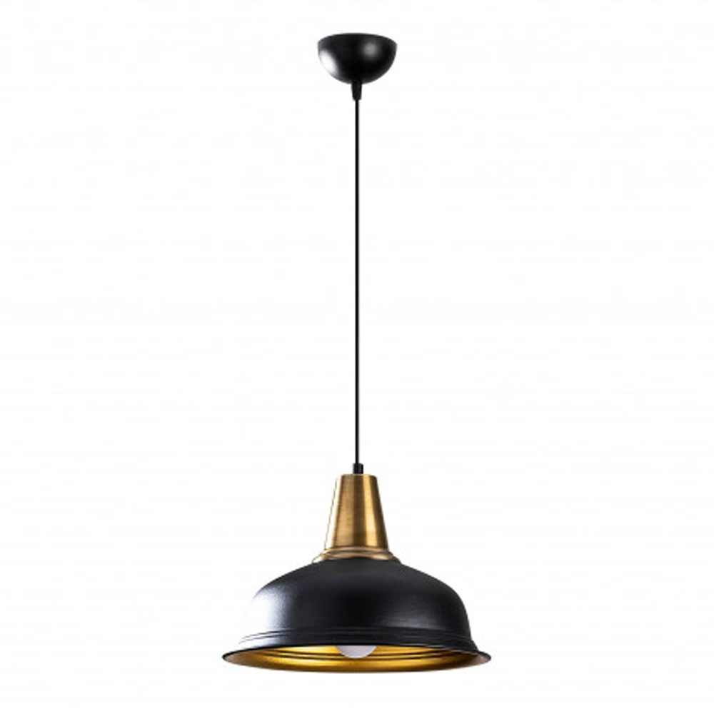 Hanglamp zwart goud modern met E27 fitting - vooraanzicht lamp uit