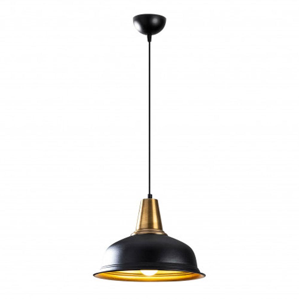 Hanglamp zwart goud modern met E27 fitting - vooraanzicht lamp aan