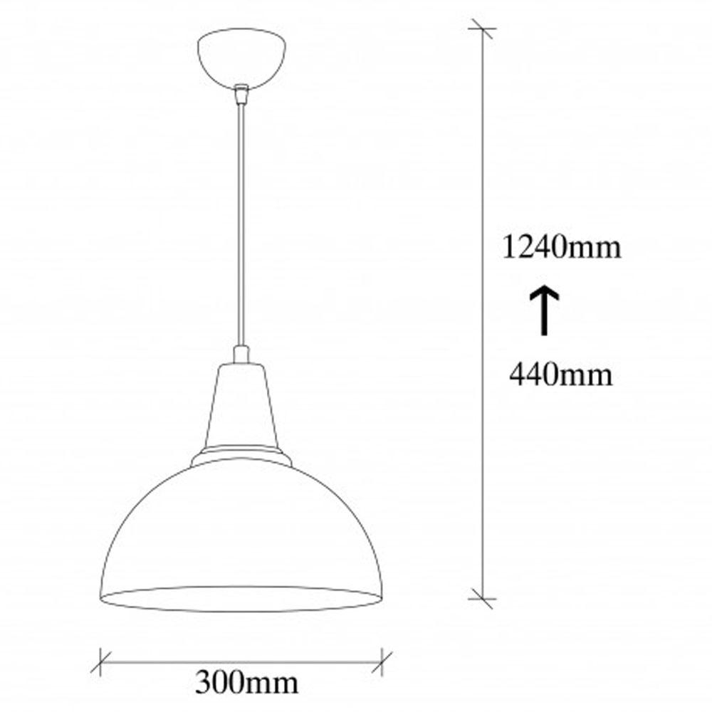 Hanglamp LED zwart goud E27 fitting - afmetingen