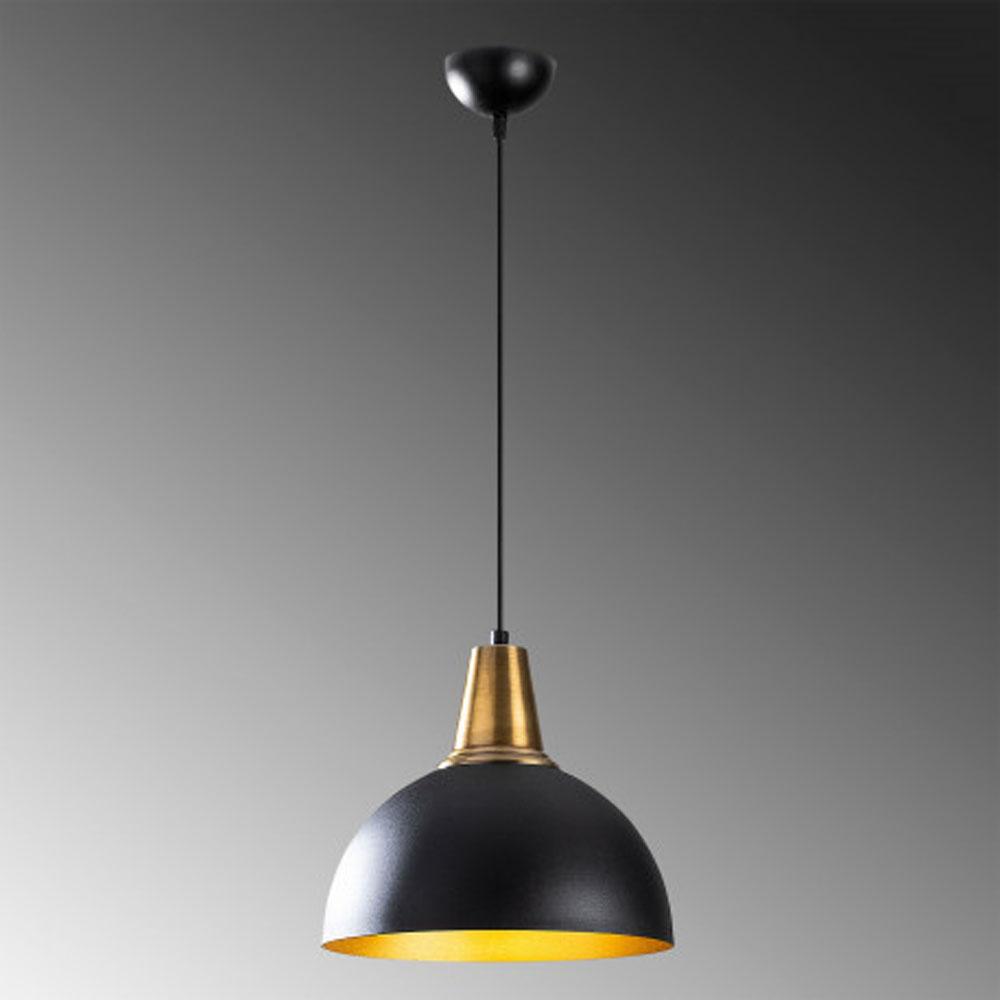 Hanglamp LED zwart goud E27 fitting - grijze achtergrond