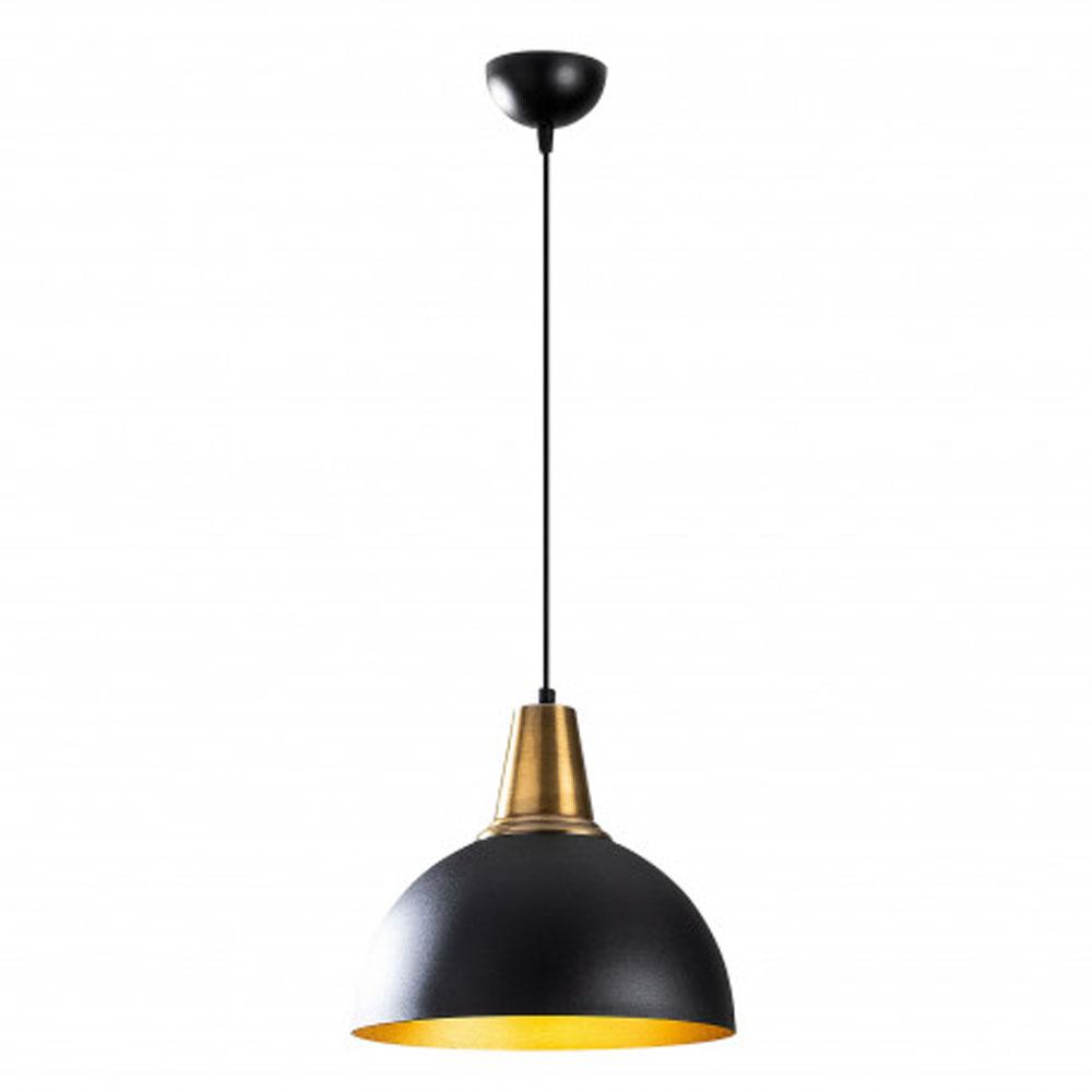 Hanglamp LED zwart goud E27 fitting - vooraanzicht lamp aan