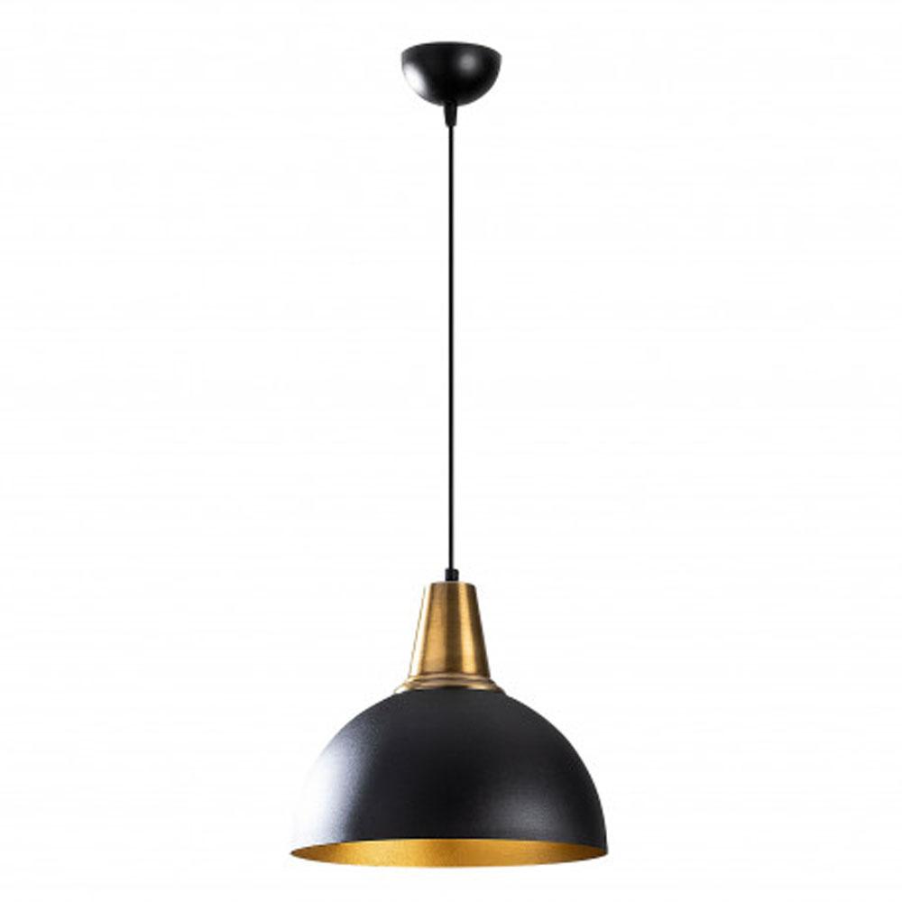 Hanglamp LED zwart goud E27 fitting - vooraanzicht lamp uit