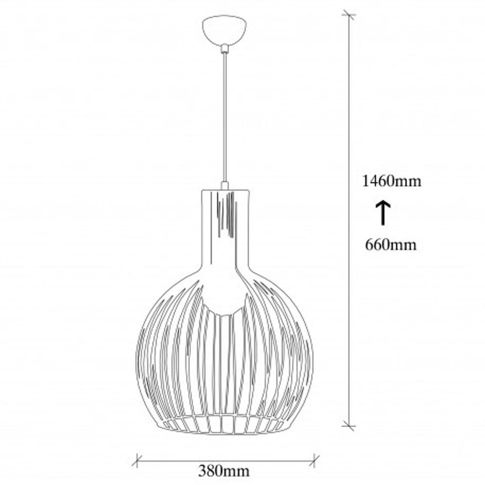 hanglamp riga E27 fitting zwart metaal - afmetingen