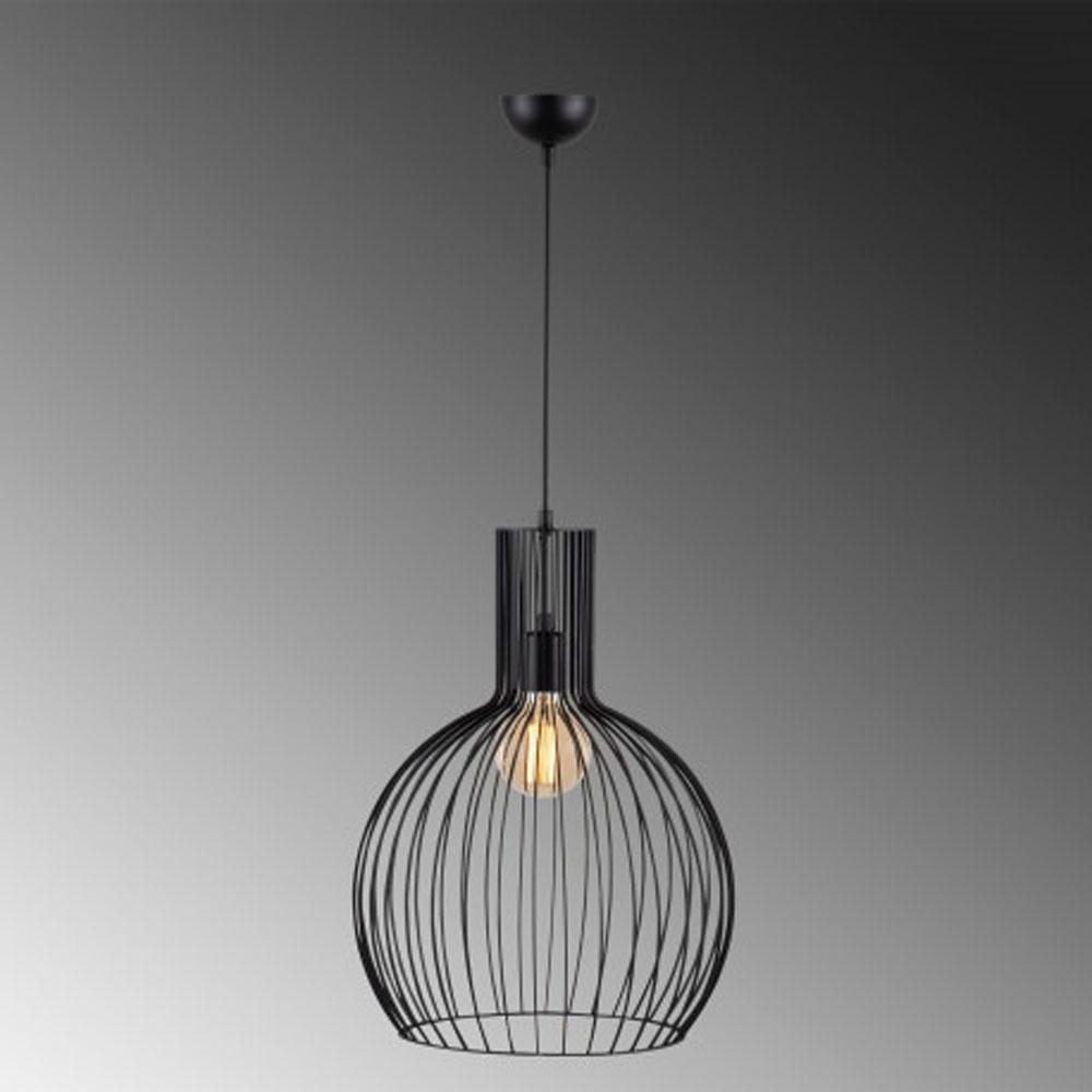 hanglamp riga E27 fitting zwart metaal - donkere achtergrond