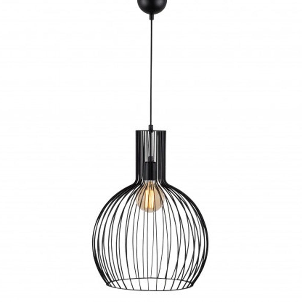 hanglamp riga E27 fitting zwart metaal - vooraanzicht lamp aan
