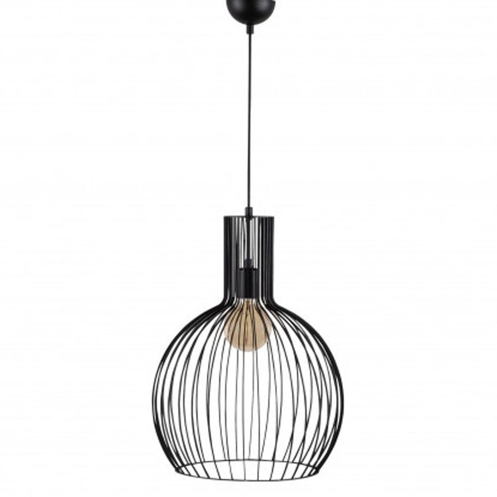 hanglamp riga E27 fitting zwart metaal - lamp uit