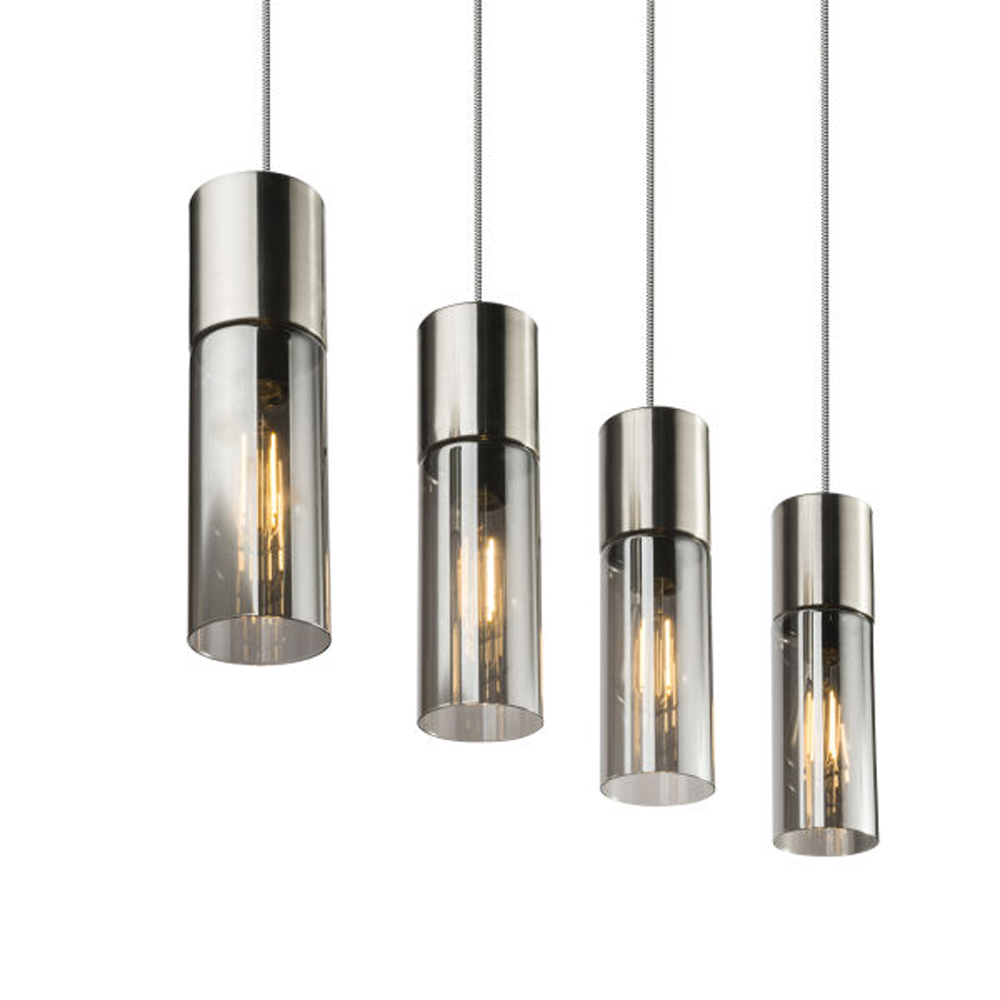 LED hanglamp nickel en smoke glass 4 x E27 fitting - lampenkappen