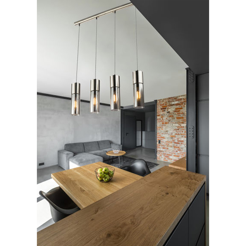 LED hanglamp nickel en smoke glass 4 x E27 fitting - sfeerfoto