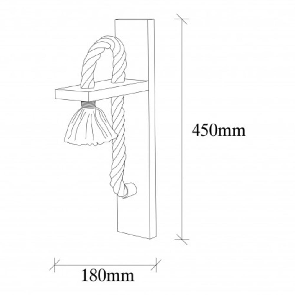 LED landelijke wandlamp touw hout E27 fitting - afmetingen