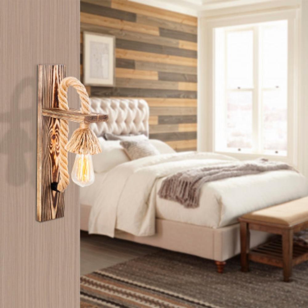 LED landelijke wandlamp touw hout E27 fitting - sfeerfoto