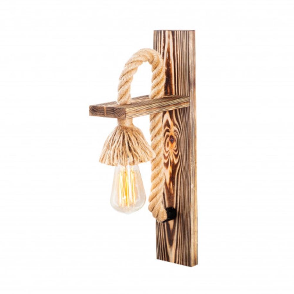 LED landelijke wandlamp touw hout E27 fitting - zijaanzicht