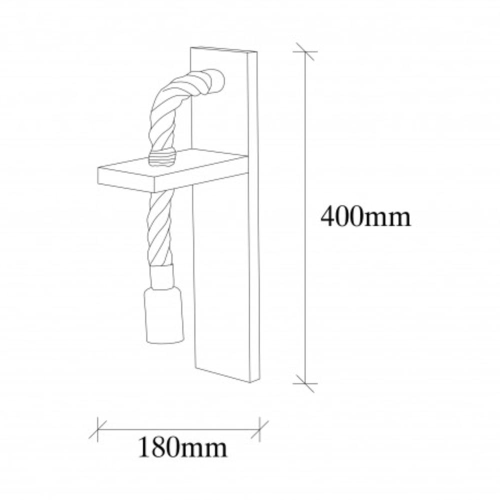 LED landelijke wandlamp touw hout zwarte E27 fitting - afmetingen